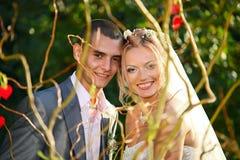 Portrait of beautiful young wedding couple Stock Photography