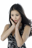 Portrait of a beautiful young woman. Studio portrait of a asian girl Royalty Free Stock Photos