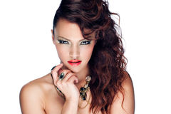 Portrait of beautiful young woman. With glamour make-up and shiny lips Royalty Free Stock Photography