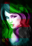 Portrait of beautiful young woman. abstract. Abstract Illustration beautiful Fantasy woman Royalty Free Stock Photo