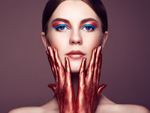 Portrait of beautiful young woman with art make-up Royalty Free Stock Photos