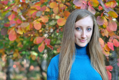 Portrait of beautiful young woman in autumn Stock Photography