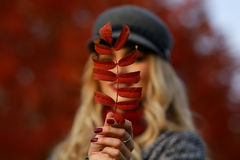 Portrait of beautiful young woman with autumn leafs. Red maple garden background Stock Photo