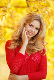 Portrait of beautiful young woman in autumn park. stock photo