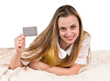 Young woman with card Stock Images