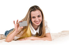 Young woman with card Royalty Free Stock Photo