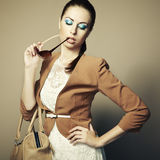 Portrait of beautiful young woman with bag Royalty Free Stock Photos