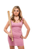 Portrait of beautiful young woman with a bat Royalty Free Stock Photo