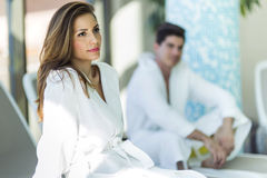 Portrait of a beautiful young woman in a bathrobe Royalty Free Stock Photography