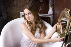 Portrait of beautiful young woman in bathroom Royalty Free Stock Photos