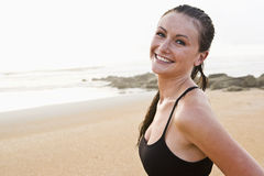 Portrait of beautiful young woman at beach Stock Photo