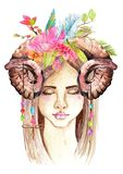 Portrait of beautiful young woman with beautiful face. And flower wreath and horns. Boho Stylish watercolor art. Hand drawn illustration Royalty Free Stock Photos