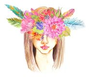 Portrait of beautiful young woman with beautiful face. And flower wreath. Boho Stylish watercolor art. Hand drawn illustration Royalty Free Stock Photography