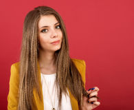 Portrait of the beautiful young woman. With beauty long straight hairs Stock Photos