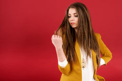 Portrait of the beautiful young woman. With beauty long straight hairs Royalty Free Stock Photos