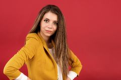 Portrait of the beautiful young woman. With beauty long straight hairs Royalty Free Stock Photography