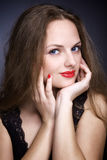 Portrait of beautiful young woman with big eyes Royalty Free Stock Photos