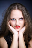 Portrait of beautiful young woman with big eyes Stock Images
