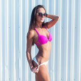 Portrait of beautiful young woman in bikini on beach posing. Portrait of beautiful young woman in bikini on beach posing Stock Image