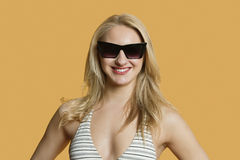 Portrait of a beautiful young woman in bikini wearing sunglasses over colored background Royalty Free Stock Photo