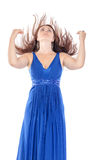 Portrait of a beautiful young woman in blue dress with streaming royalty free stock photo