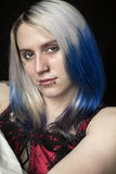 Beautiful Young Woman with Blue Hair Royalty Free Stock Photos