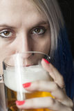 Beautiful Young Woman with Blue Hair Drinking Beer Stock Photo