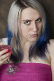 Beautiful Young Woman with Blue Hair and Pink Dress Stock Photos
