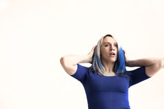 Beautiful Young Woman with Blue Hair on white Background Royalty Free Stock Images