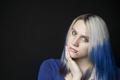 Beautiful Young Woman with Blue Hair on Black Background Stock Photos