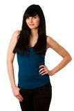 Portrait of beautiful young woman in blue tshirt Stock Images