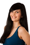 Portrait of beautiful young woman in blue tshirt Stock Photo