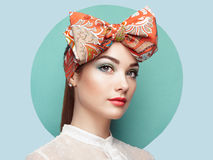 Portrait of beautiful young woman with bow Royalty Free Stock Image