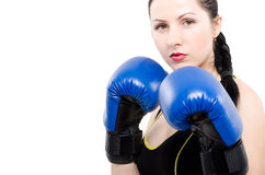 Portrait of a beautiful young woman in boxing gloves Stock Image