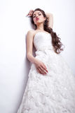 Portrait of beautiful young woman bride  in white Wedding Dress Stock Photography