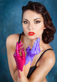 Portrait of a beautiful young woman with bright make up Royalty Free Stock Image