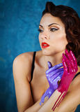 Portrait of a beautiful young woman with bright make up Royalty Free Stock Photo