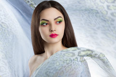 Portrait of a beautiful young woman with bright makeup. A woman surrounded by light flying cloth Stock Photography