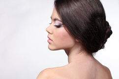 Portrait of beautiful young woman with brown hair Royalty Free Stock Photo