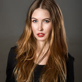 Portrait of beautiful young woman with brown hair and make-up Royalty Free Stock Images