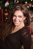 Portrait of a beautiful young woman. In brown pullover in front of the Christmas tree Royalty Free Stock Photography