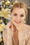 Portrait of beautiful young woman in Christmas Royalty Free Stock Image