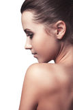 Portrait of beautiful young woman with clean face body Royalty Free Stock Photo