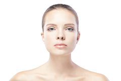 Portrait of beautiful young woman with clean skin isolated Stock Photo