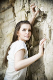 Portrait of a beautiful young woman climber. Stock Image