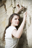Portrait of a beautiful young woman climber Royalty Free Stock Photo