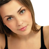Portrait of a beautiful young woman close-up Stock Images