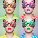 Portrait of beautiful young woman with colored glasses Royalty Free Stock Images