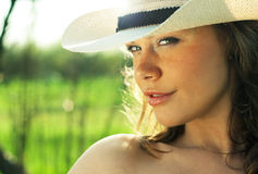 Portrait of beautiful young woman cowgirl in hat Royalty Free Stock Images