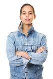 Portrait of a beautiful young woman in denim jacke Stock Photography